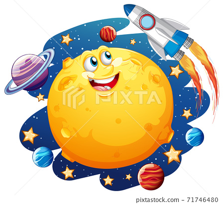 Moon with happy face on space galaxy theme on white background 71746480