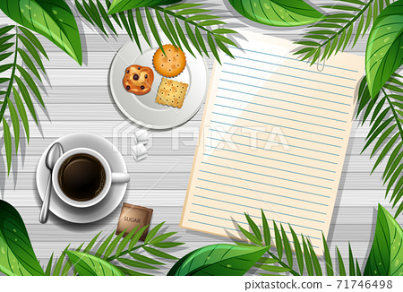 Top view of wooden table with blank paper and a cup of coffee and leaves element 71746498