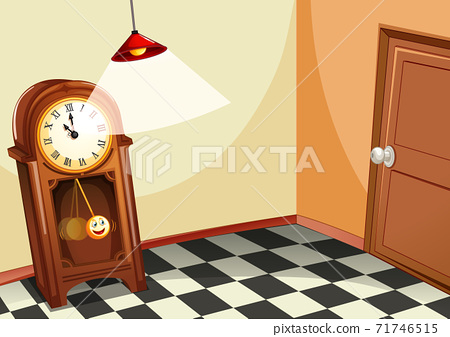 Vintage wooden clock in the room 71746515