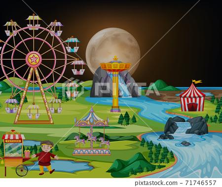 Amusement park at night landscape scene 71746557
