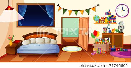 Kid bedroom with many toys scene 71746603