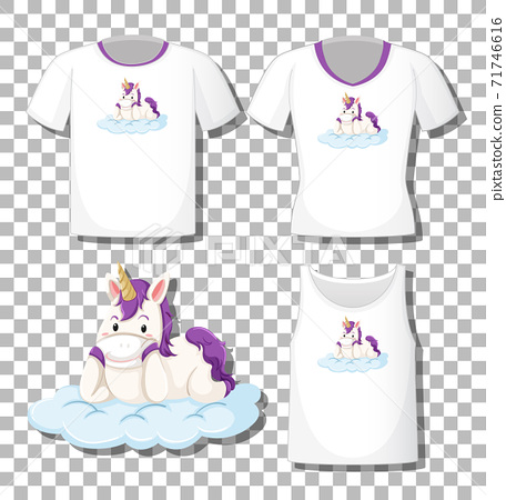 Cute unicorn lay on the cloud cartoon character with set of different shirts isolated on transparent background 71746616