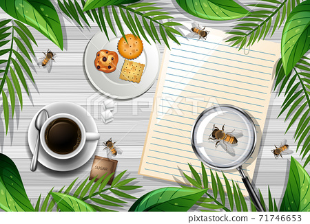 Top view of wooden table with office objects and leaves and insects element 71746653