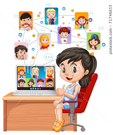 A girl communicate video conference with friends on white background 71746655
