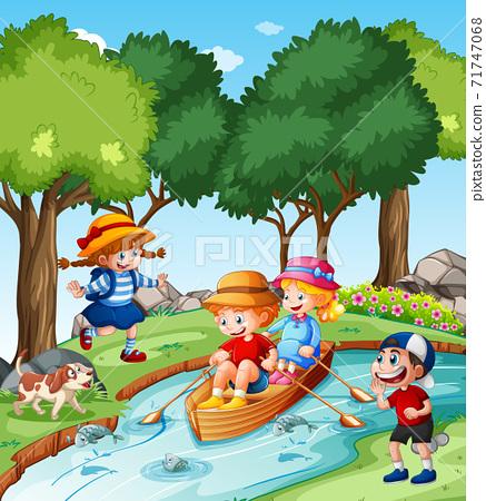 Children row the boat in the stream park scene 71747068
