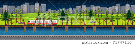City nature park with train on skyline landscape at night scene 71747116