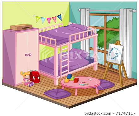 Girl bedroom interior with furniture and decoration elements in pink theme 71747117