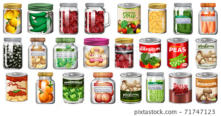 Set of different canned food and food in jars isolated 71747123