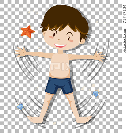 Cute boy wearing shorts on transparent background 71747134
