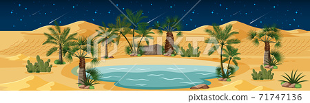 Desert oasis with palms and catus nature landscape at night scene 71747136