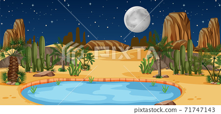Desert oasis with palms and catus nature landscape at night scene 71747143