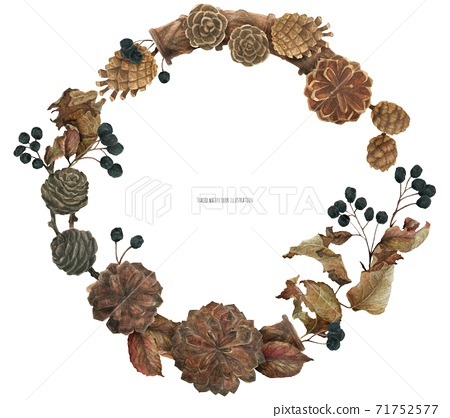 Cones and berries Merry Christmas wreath 71752577