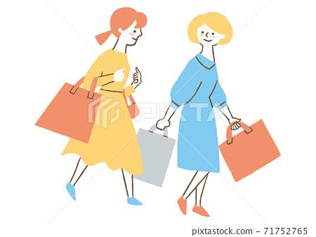 兩個人從購物回家的路上 71752765