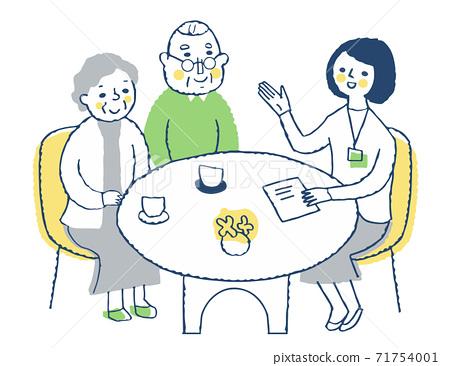 접객 상담 수석 부부 설명하는 여성 직원 71754001