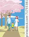 三個父母和孩子在盛開的公園裡散步 71755381