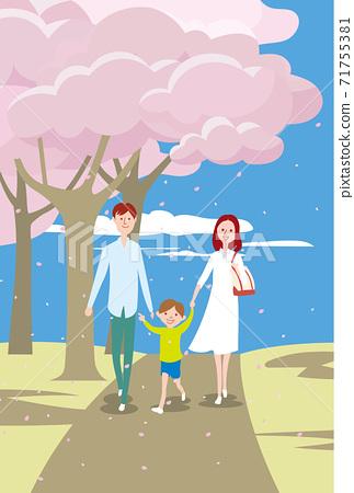 벚꽃 만개 한 공원을 산책하는 부모와 자식 3 명 71755381
