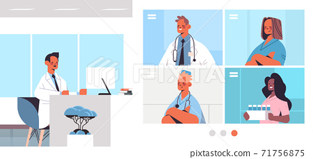 male doctor having video conference with mix race medical professionals in web browser windows medicine healthcare 71756875