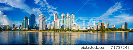Panorama view of Bangkok city skyline on a sunny day. 71757248
