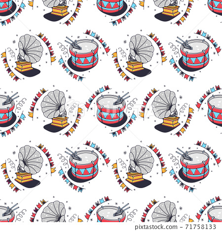 Drums and gramophones. Seamless pattern on a white background. Cute vector illustration. 71758133