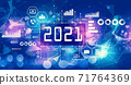 2021 New Year concept with technology light background 71764369