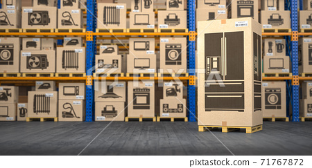 Refrigerator in warehouse with household appliances and kitchen electronics in boxes. Online purchase, shopping  and delivery concept. 71767872