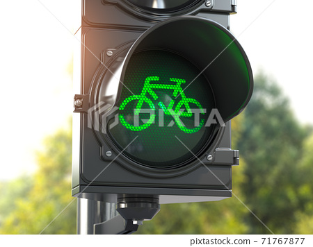 Bicycle green signal on traffic light. Free bike road or zone for bikes.  Bike friendly politics concept. Sustainable transport. 71767877
