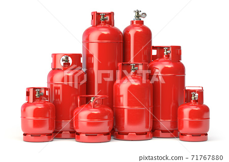 Different types of red gas bottles isolated on white background. 71767880