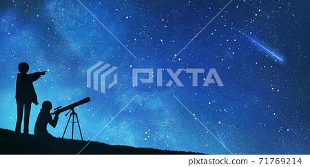 人們觀察天文恆星流星群的插圖 71769214