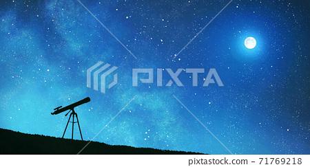천체 망원경과 보름달 배경 71769218