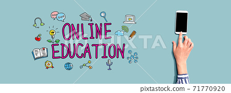 Online education with person using smartphone 71770920