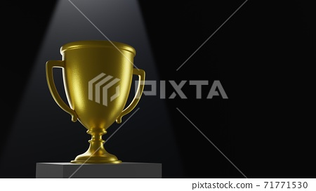 3D Trophy on podium. Empty space with black background 3D rendering 71771530
