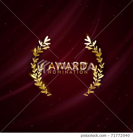 Award nomination design background. Golden winner glitter banner with laurel wreath 71772040