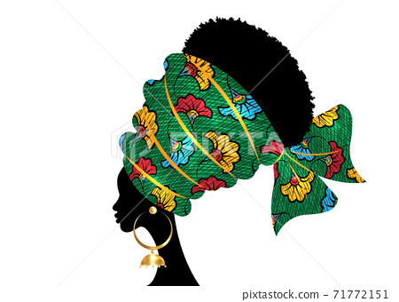 portrait beautiful African woman in traditional turban handmade tribal motif wedding flowers, Kente head wrap African with ethnic earrings, black women Afro curly hair, vector silhouette isolated  71772151
