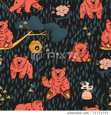 Seamless repeat pattern of hand drawn bear that walks and sits, honey, forget me nots, beehive, smell of honey, tree, branch, bees. Dark background 71772755