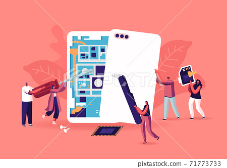 Tiny Male and Female Characters with Instruments Assembling or Repair Huge Smartphones Concept. Men and Women Fix Phone 71773733
