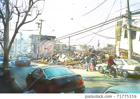 Great Hanshin-Awaji Earthquake January 17, 1995 Around Sugawara Market 71775359