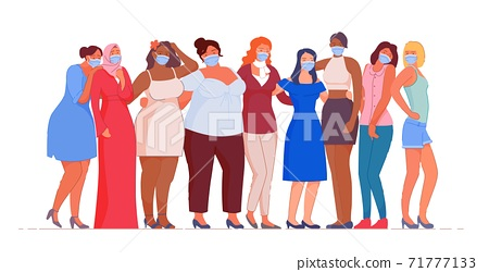 Multiethnic woman group wearing medical mask 71777133