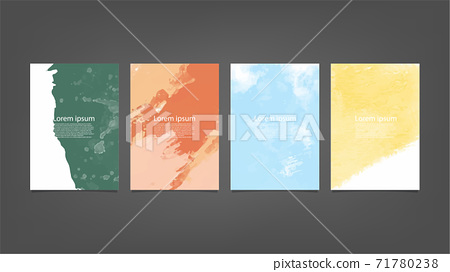 Set of colorful vector watercolor backgrounds for poster, brochure or flyer, Bundle of watercolor posters, flyers or cards. Banner template. 71780238
