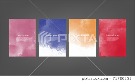Set of colorful vector watercolor backgrounds for poster, brochure or flyer, Bundle of watercolor posters, flyers or cards. Banner template. 71780253