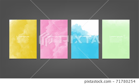 Set of colorful vector watercolor backgrounds for poster, brochure or flyer, Bundle of watercolor posters, flyers or cards. Banner template. 71780254