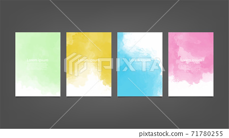 Set of colorful vector watercolor backgrounds for poster, brochure or flyer, Bundle of watercolor posters, flyers or cards. Banner template. 71780255
