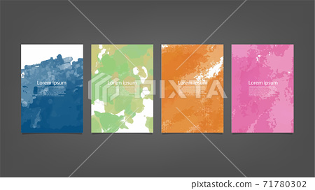 Set of colorful vector watercolor backgrounds for poster, brochure or flyer, Bundle of watercolor posters, flyers or cards. Banner template. 71780302
