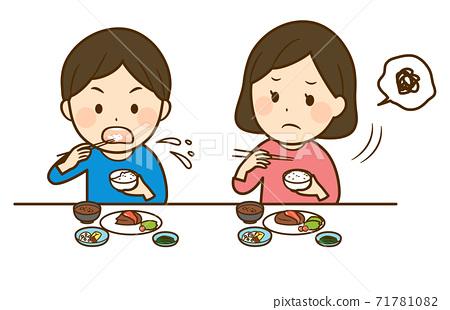 男孩稳定地吃米饭 71781082
