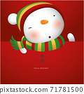 Greeting Card with Christmas Snowman, Vector illustration 71781500