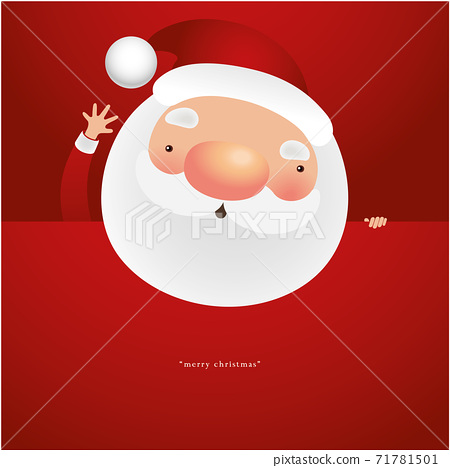 Greeting Card with Christmas Santa Claus, Vector illustration 71781501