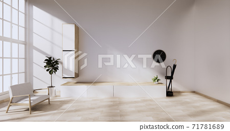 Cabinet wooden japanese design on living room zen style empty wall background.3D rendering 71781689