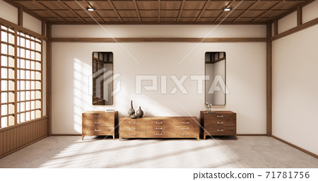 The wooden cabinet japanese style. 3d rendering 71781756
