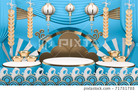 Abstract cyan podium show in cyan color background.3D rendering 71781788