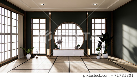 Dark Circle wall design and cabinet on empty  Living room japanese deisgn with tatami mat floor. 3D rendering 71781801