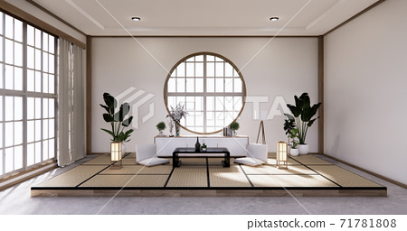 Traditional Japanese style living room mixed with modern design.3D rendering 71781808